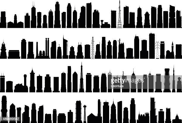 detailed buildings - tall high stock illustrations
