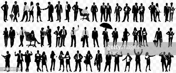 detaillierten business menschen silhouette isoliert - geschäftsleute stock-grafiken, -clipart, -cartoons und -symbole