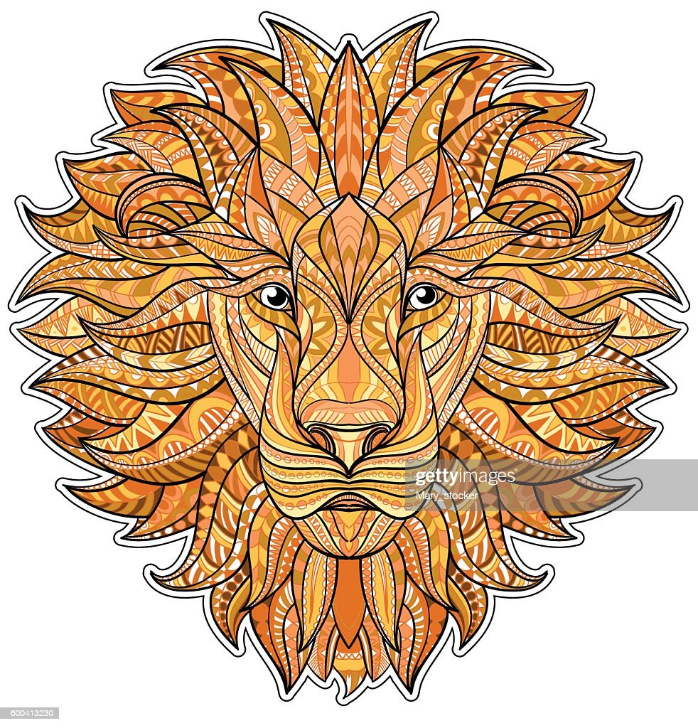 Detailed colored Lion in aztec style. Patterned head of the