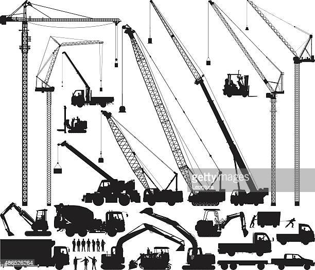 detailed construction silhouettes - lutin stock illustrations