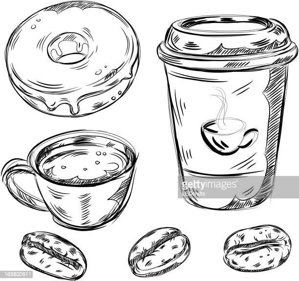 detailed drawings of coffee and food - donut stock illustrations, clip art, cartoons, & icons