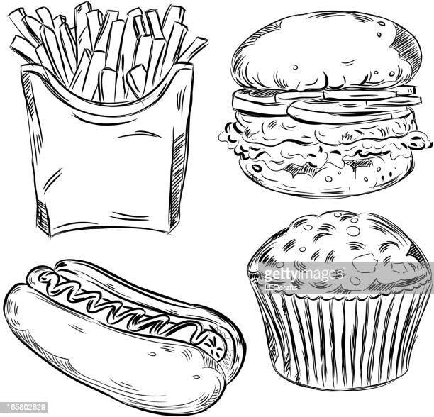detailed drawings of foods - muffin stock illustrations, clip art, cartoons, & icons