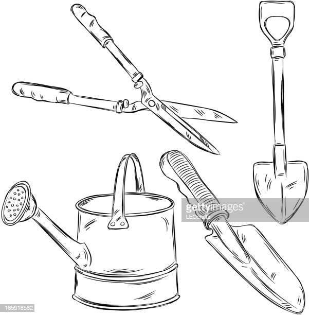detailed drawings of gardening tools - hedge trimmer stock illustrations, clip art, cartoons, & icons