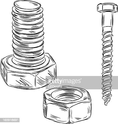 Detailed Drawings Of Nut And Bolt High-Res Vector Graphic