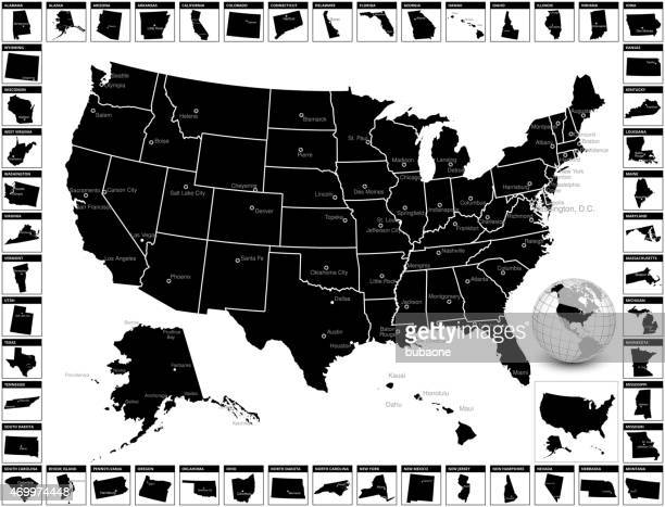 detailed editable vector us state map with capitals and cities. - alabama us state stock illustrations, clip art, cartoons, & icons