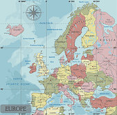 Detailed Europe Political map in Mercator projection.