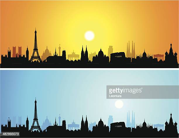 detailed europe skyline (each building is complete and moveable) - pisa stock illustrations, clip art, cartoons, & icons
