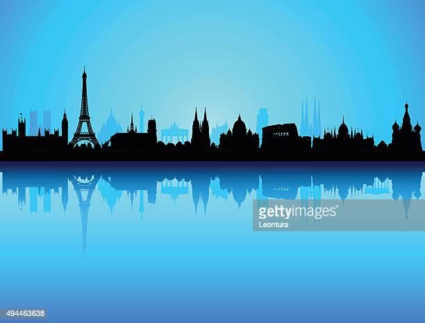 illustrazioni stock, clip art, cartoni animati e icone di tendenza di dettagliate sullo skyline di europa (ogni edificio è completa e mobili) - la comunità europea