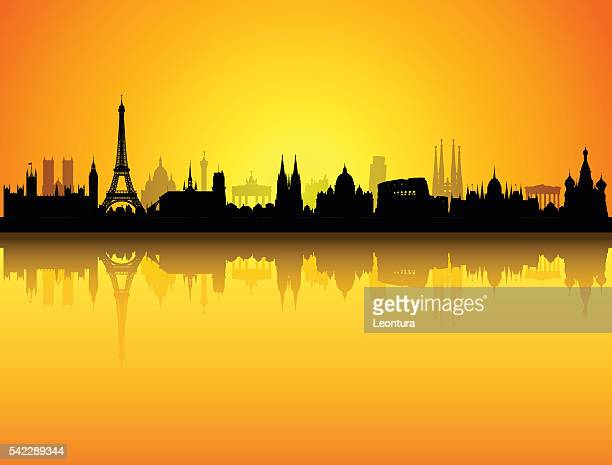 detailed europe skyline (buildings are complete and moveable) - red square stock illustrations, clip art, cartoons, & icons