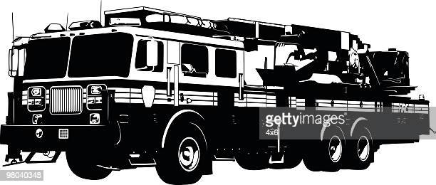 detailed fire truck - fire engine stock illustrations, clip art, cartoons, & icons