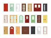 Detailed front doors flat vector icons set