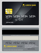 Detailed glossy vector credit card isolated on gray background