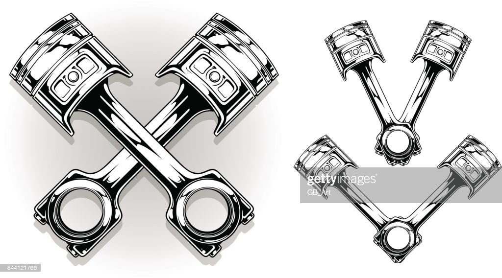 Detailed graphic black car engine piston set