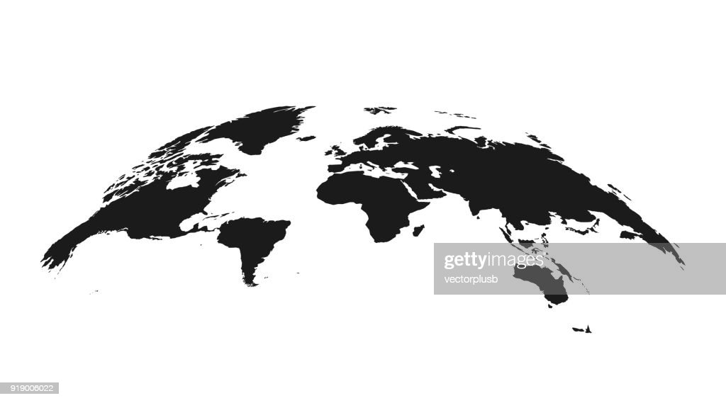 Detailed grey world map, mapped on an open globe, isolated on white background