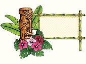 Detailed hawaiian banner with tiki statue