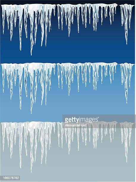 Detailed icicles on blue and gray background