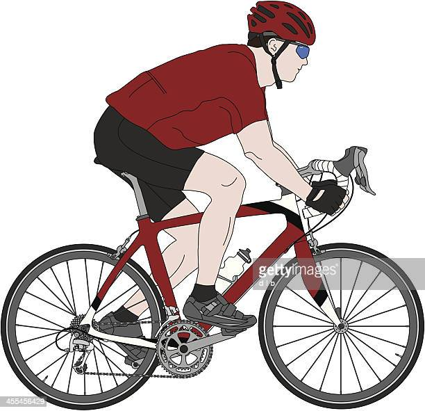detailed illustration of a carbon fiber racing bicycle and cyclist - bike helmet stock illustrations, clip art, cartoons, & icons