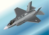 Detailed Isometric Illustration of an F-35 Lightning II Fighter