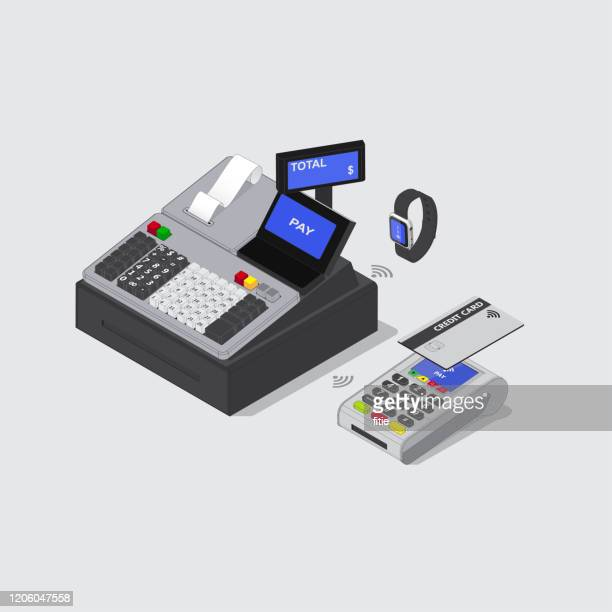 detailed isometric vector cash register,credit card and smart watch nfc payment - cash register stock illustrations