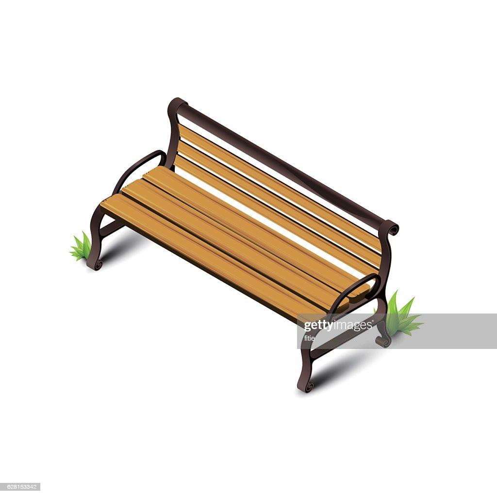 Detailed isometric wooden park bench