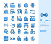 Detailed Line icon Set of Fitness and Healthy Life .Bluetone Version.Vector Icons. Editable Stroke. 48x48 Pixel Perfect