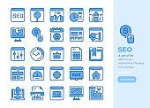 Detailed Line icon Set of Seo Marketing .Bluetone Version.Vector Icons. Editable Stroke. 48x48 Pixel Perfect - Illustration