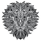Detailed Lion in aztec style. Patterned head on isolated background