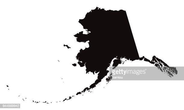 detailed map of alaska state - country geographic area stock illustrations, clip art, cartoons, & icons