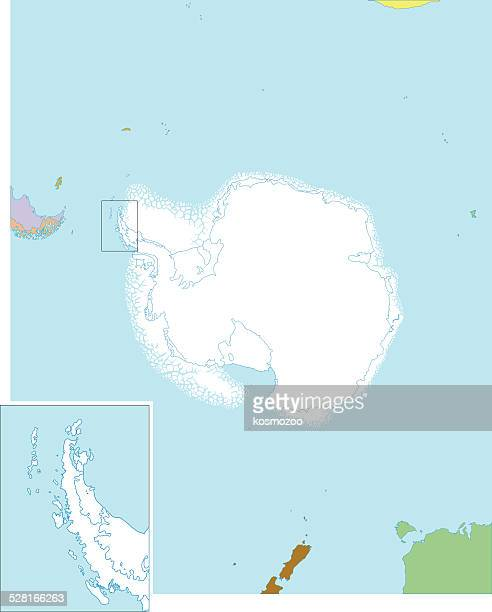 detailed map of antarctica with ice shelves - antarctica stock illustrations, clip art, cartoons, & icons
