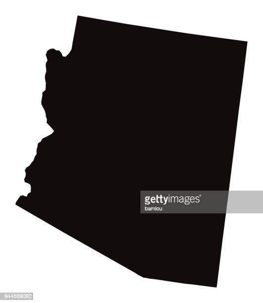 detailed map of arizona state - country geographic area stock illustrations, clip art, cartoons, & icons