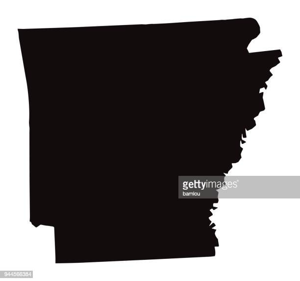 detailed map of arkansas state - country geographic area stock illustrations, clip art, cartoons, & icons