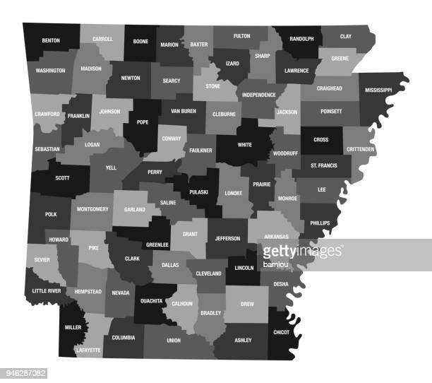 Detailed Map of Arkansas State with County Divisions
