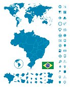 Detailed map of Brazil and World map navigation set