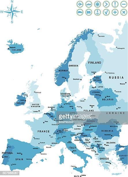 illustrations, cliparts, dessins animés et icônes de carte détaillée de l'europe - capitales internationales