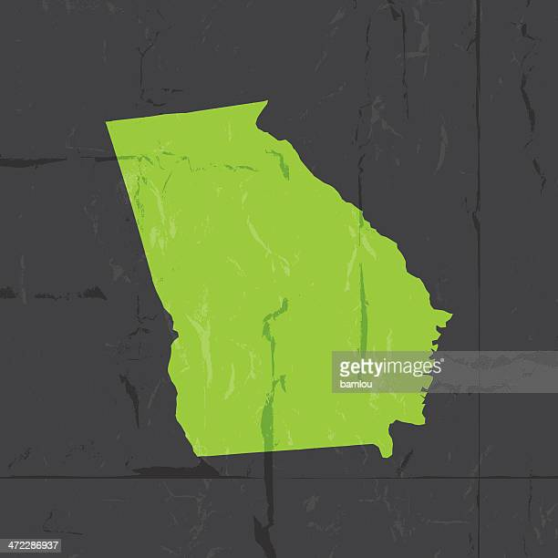 Detailed map of Georgia state grunge style