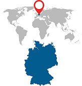 Detailed map of Germany and World map navigation set. Flat vector illustration.