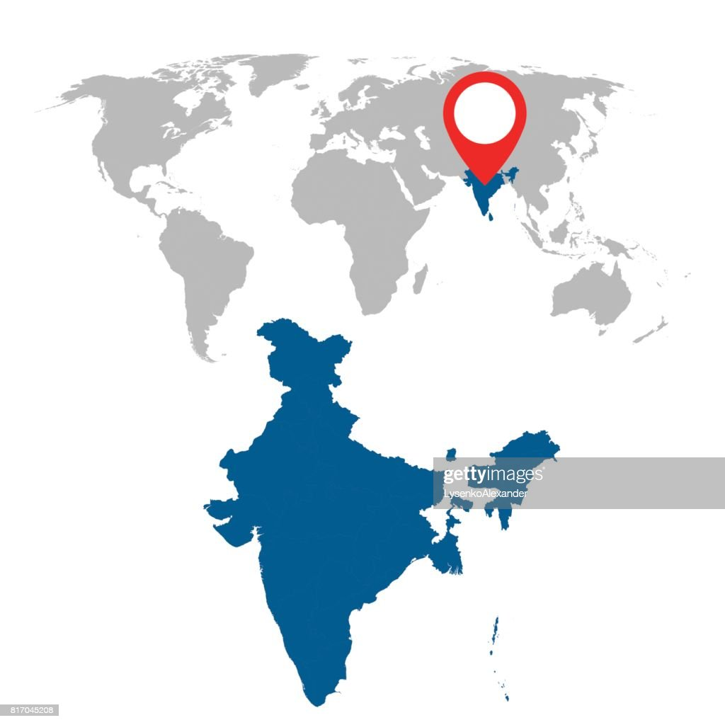 Detailed map of India and World map navigation set. Flat vector illustration.