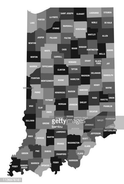 detailed map of indiana state with county divisions - country geographic area stock illustrations, clip art, cartoons, & icons