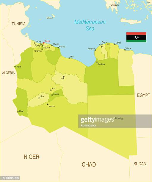 Detailed map of Libya with surroundings,