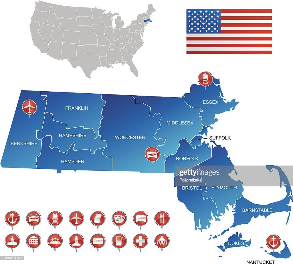 A detailed map of Massachusetts USA