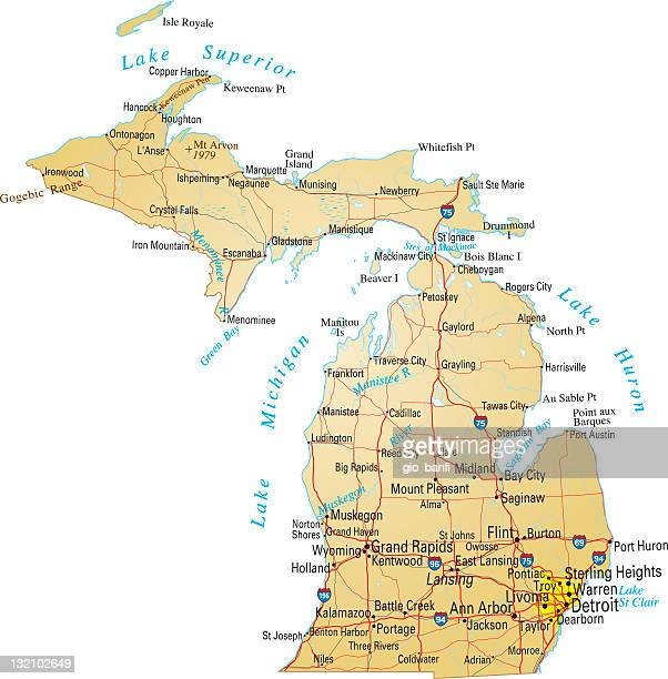 a detailed map of michigan america - michigan stock illustrations