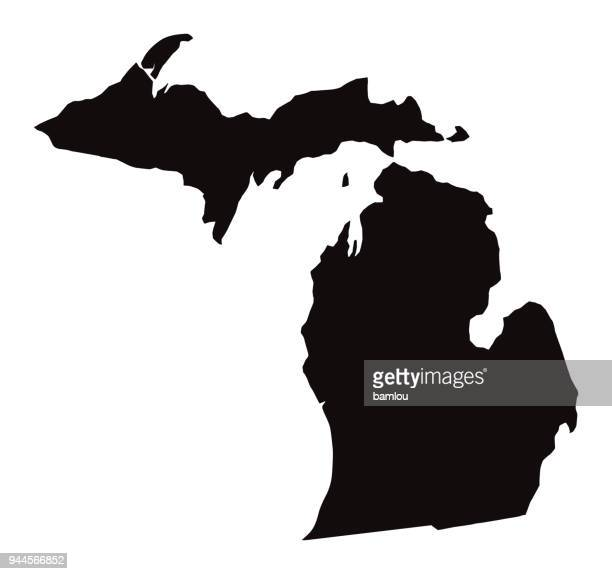 detailed map of michigan state - michigan stock illustrations
