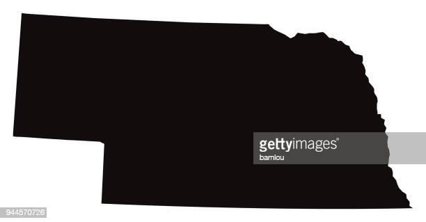 detailed map of nebraska state - nebraska stock illustrations