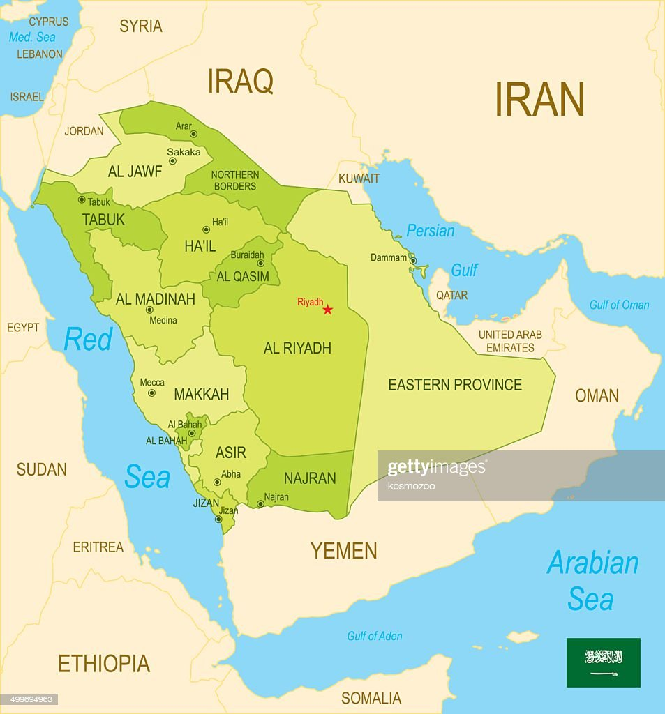 Detailed map of Saudi Arabia