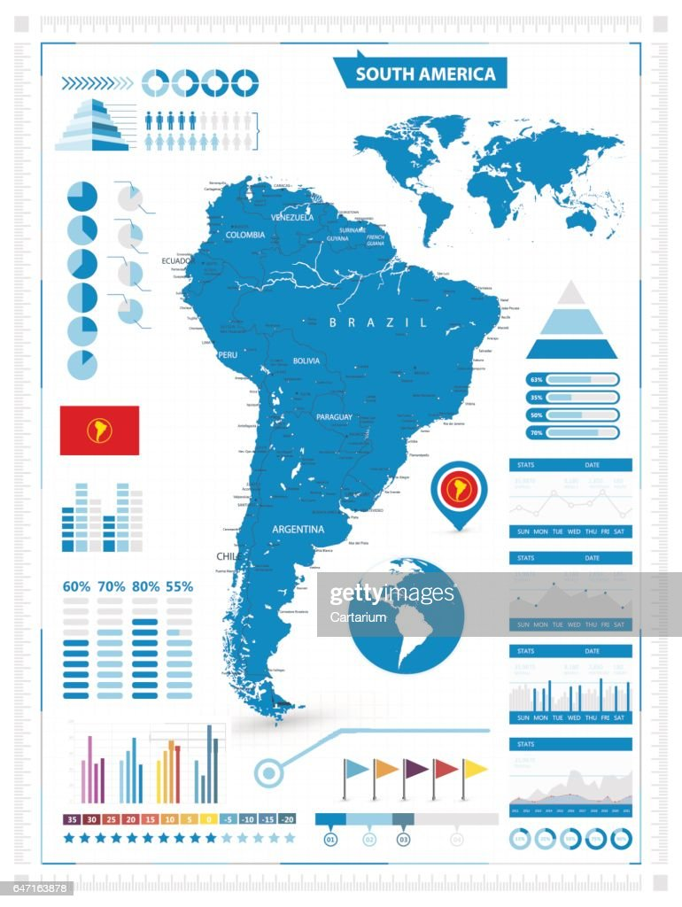 Detailed map of South America with infograpchic elements