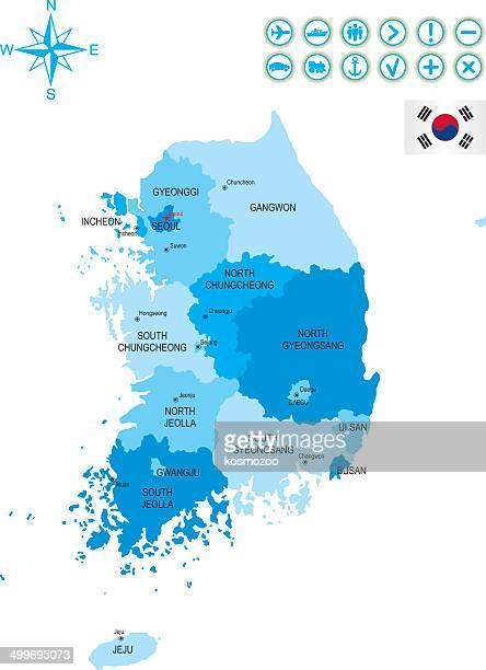 detailed map of south korea - south korea stock illustrations, clip art, cartoons, & icons