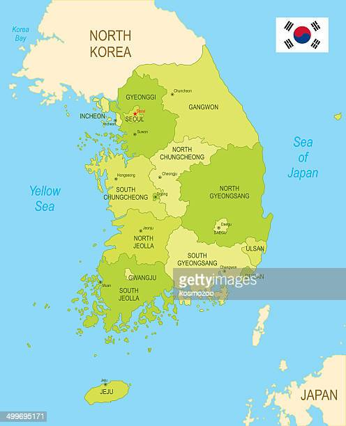 detailed map of south korea - sea of japan or east sea stock illustrations, clip art, cartoons, & icons