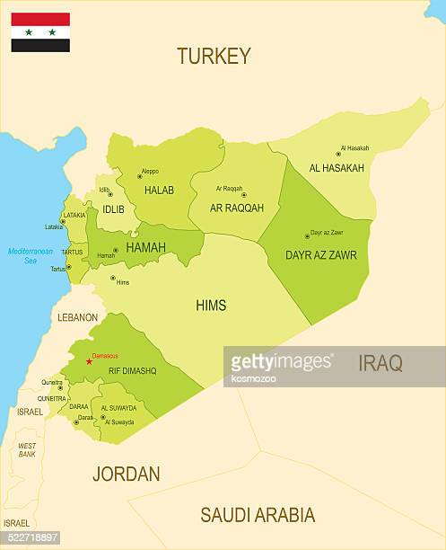 detailed map of syria - lebanon country stock illustrations, clip art, cartoons, & icons
