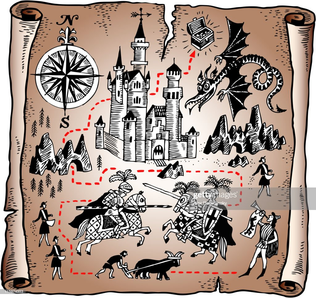 Detailed map of the Knight kingdom on vector paper scroll : stock illustration
