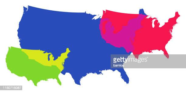 detailed map of the united states of america overlapping vibrant colors - country geographic area stock illustrations, clip art, cartoons, & icons